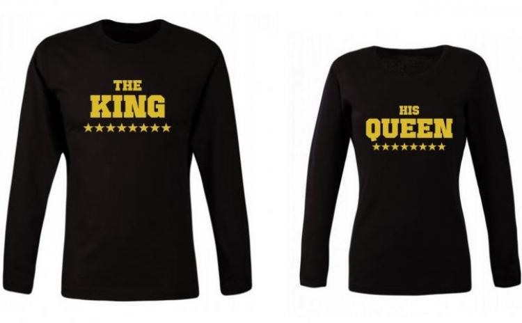Set de bluze negre pentru cupluri Gold King/Queen