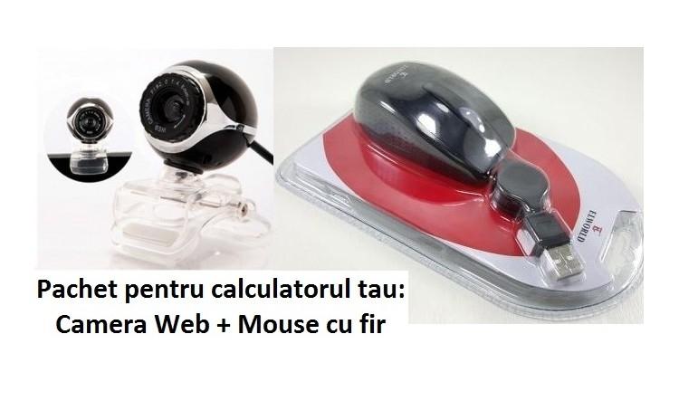 Pachet pentru calculatorul tau: Camera Web + Mouse cu fir, la doar 37 RON in loc de 99 RON