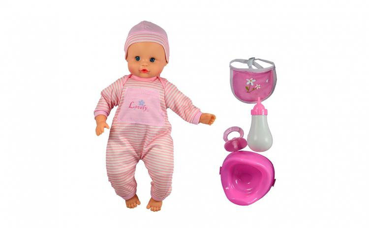 Papusa bebelus cu olita, biberon, suzeta