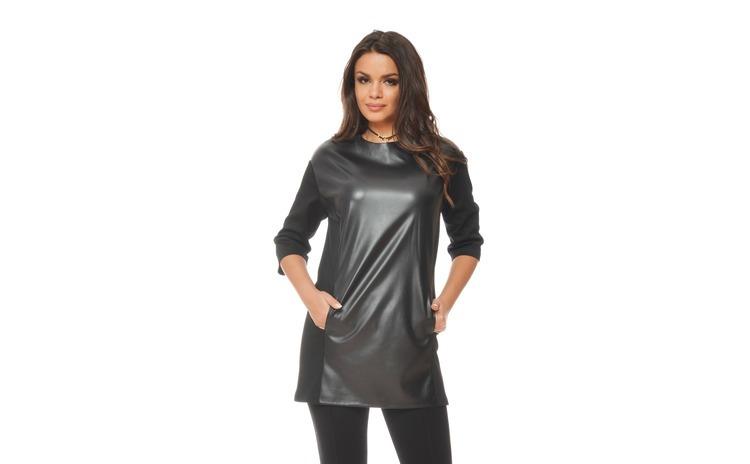 Tunica dama neagra piele eco. premium - PQ31