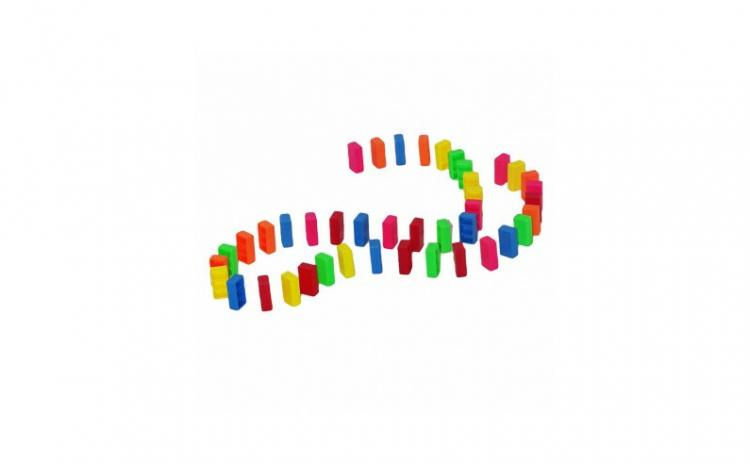 Domino multicolor, 42 piese, multicolor