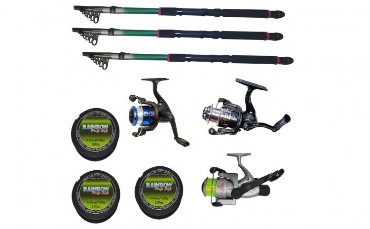 Set 3 mulinete echipate pentru pescuit