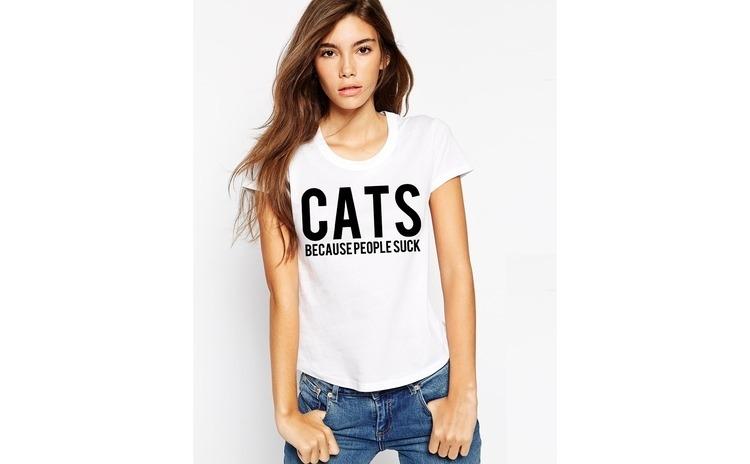 Tricou dama alb - CATS