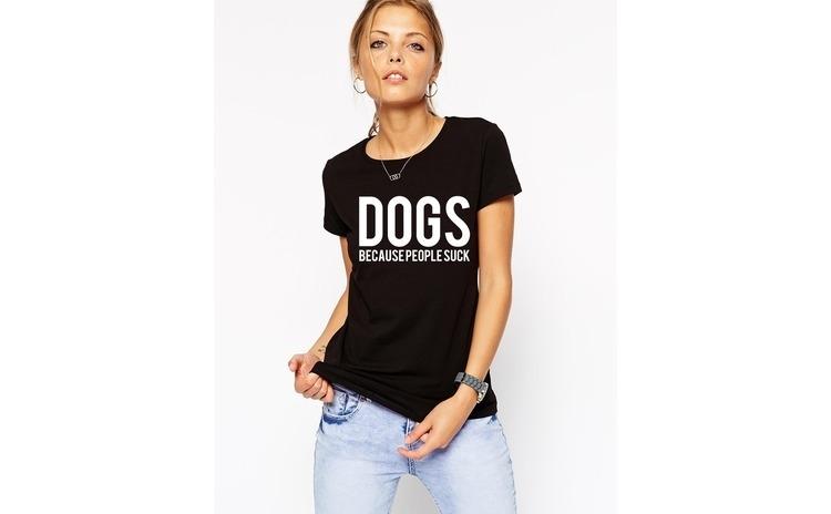 Tricou dama negru - DOGS