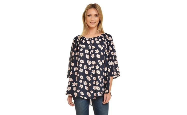 Bluza Dama Bleumarin Clopot Imprimeu Floral