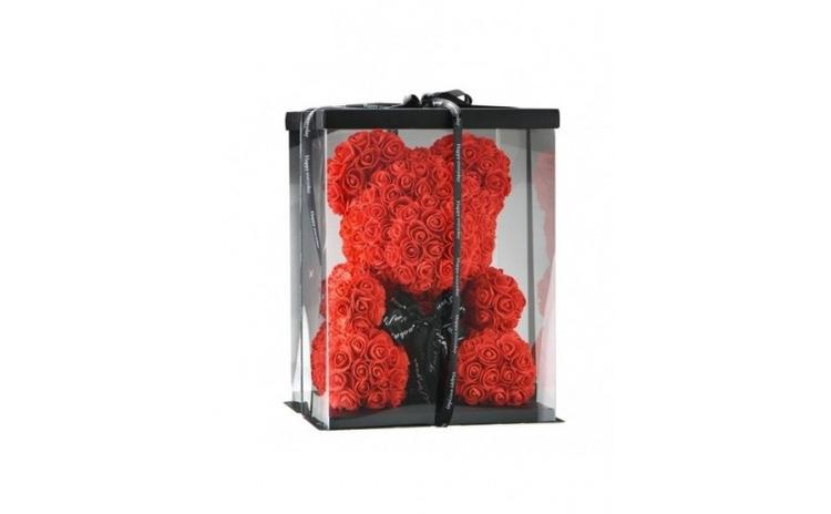 Ursulet din trandafiri in cutie, 40cm,