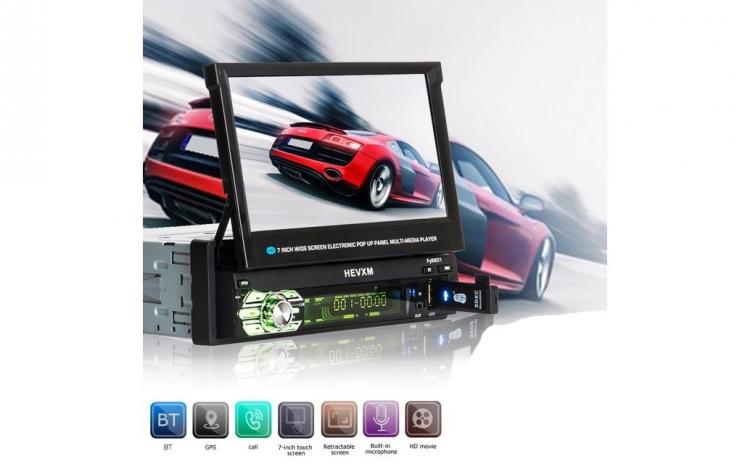 MP5 Player 7 Inchi, cu ecran retractabil tactil, Navigatie GPS, Card Inclus 8GB cu Harta Europei 2018, Bluetooth, Sistem de Operare Windows