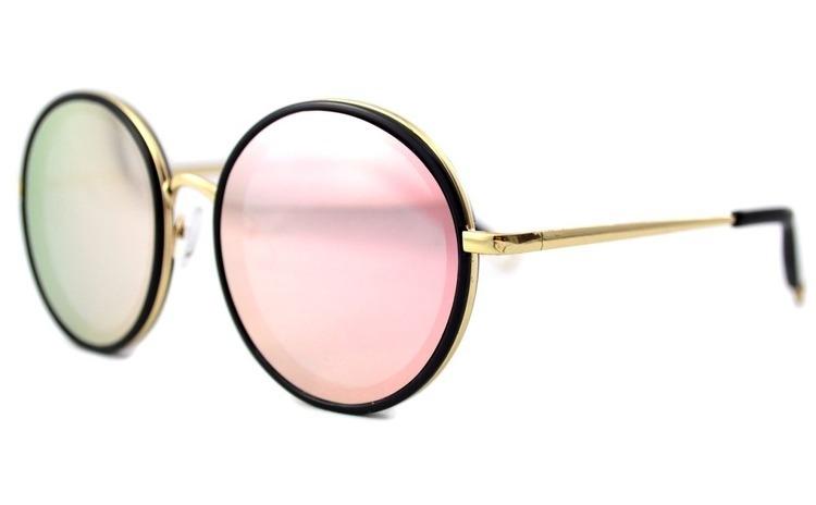 Ochelari de soare Rotunzi Oglinda Roz -