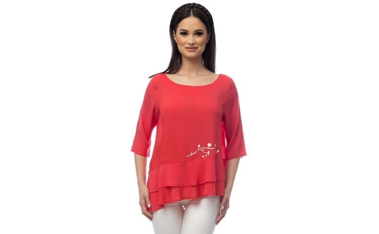 Bluza dama volane suprapusa rosie cu