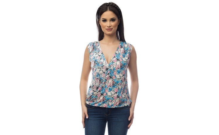 Bluza Dama fara Maneci cu Imprimeu Floral