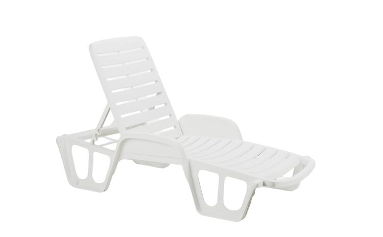Sezlong plastic, alb, 71 x 192 x 100 cm