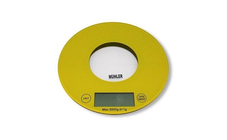 Imagine indisponibila pentru Cantar digital de bucatarie Muhler, 19.5 x 20.1 x 19.5 cm, galben
