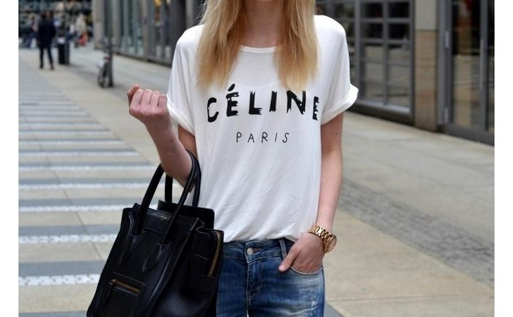 Tricou Celine Paris - Alb