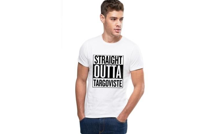 Tricou alb barbati - Straight Outta