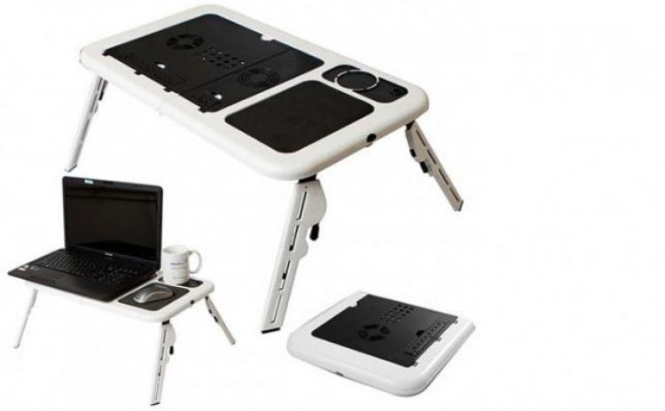 Masuta Masa Laptop E-table Cu 2 Coolere + Suport Pahar + Mousepad  La 65 Ron In Loc De 150 Ron