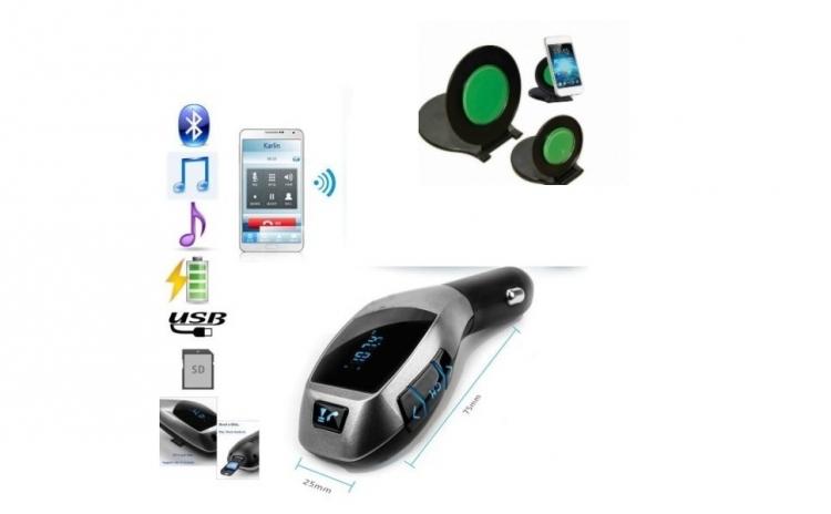 Car kit bluetooth - modulator FM + suport auto pentru telefon + tableta