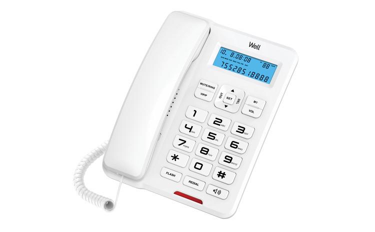 Telefon cu fir de masa cu afisaj alb