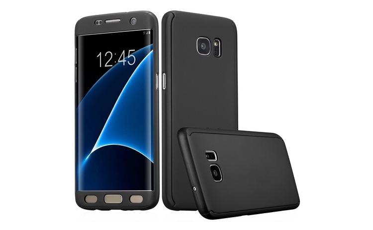 Husa Samsung Galaxy S7 Edge Flippy Full Cover 360 Negru + Folie de protectie