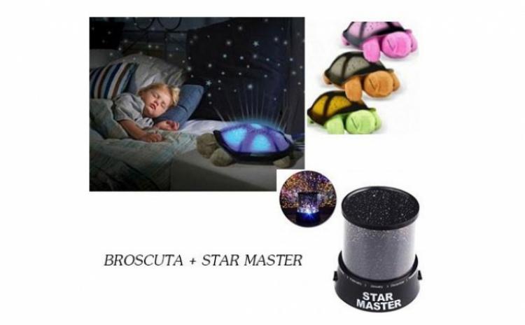 Set: Broscuta-proiector de tavan cu 8 constelatii si 4 melodii+cablu USB si Proiector de tavan astronomic STAR MASTER la numai 69 RON in loc de 175 RON