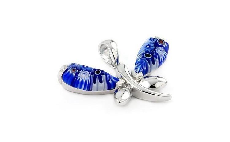 Pandant argint 925 cu sticla de Murano
