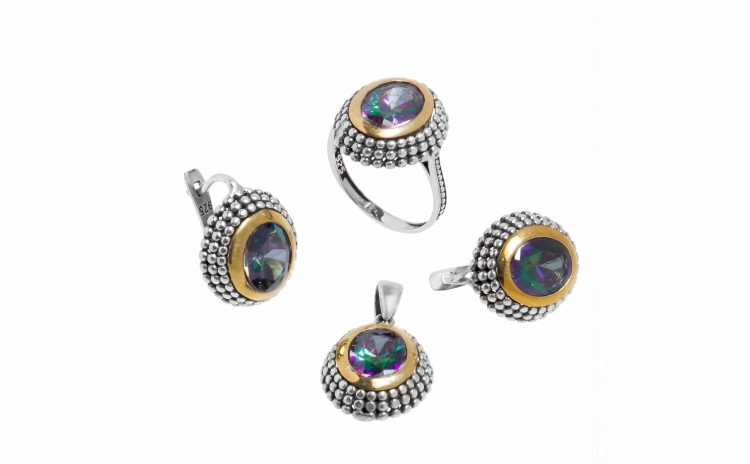 Set bijuterii din argint cu topaz mistic