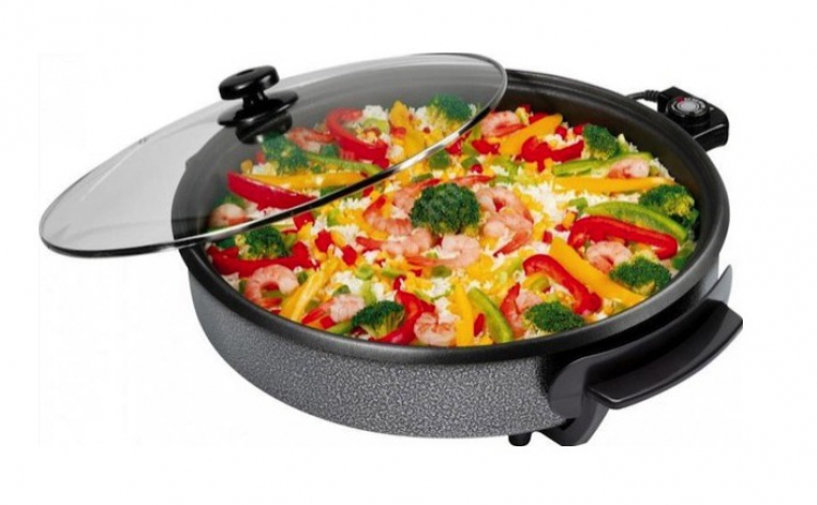 Tigaie electrica Hot Pan neagra, rotunda