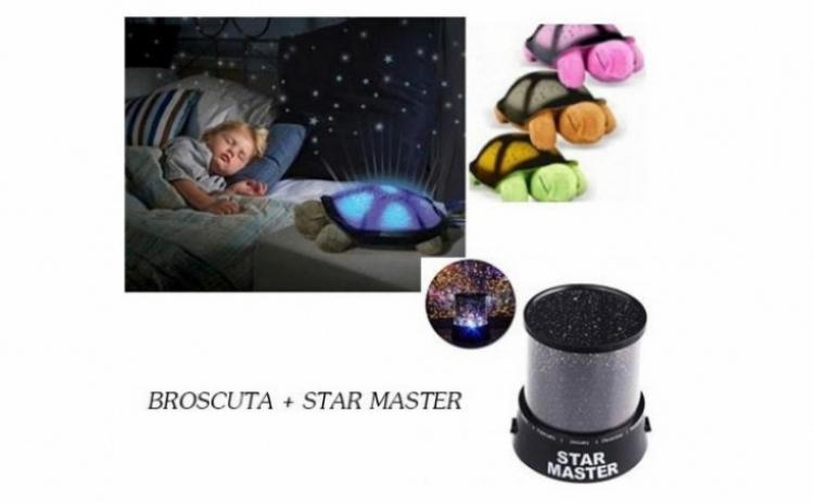 Set: Broscuta-proiector de tavan cu 8 constelatii si 4 melodii + cablu USB si Proiector de tavan astronomic Star Master, la numai 79 RON in loc de 200 RON