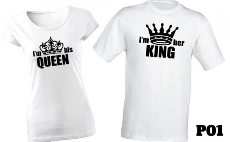 Set de tricouri pentru cupluri de indragostiti I'm his Queen/I'm her King, la 99 RON in loc de 200 RON