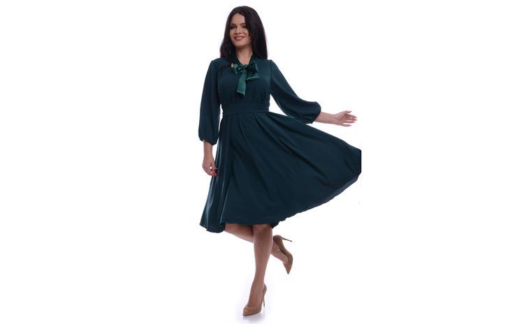 Rochie Dama Verde Ampla cu Esarfa din