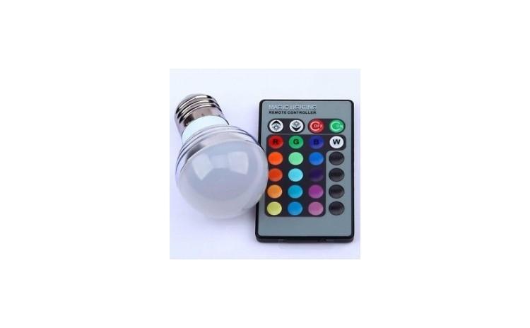 Bec multicolor cu telecomanda Magic