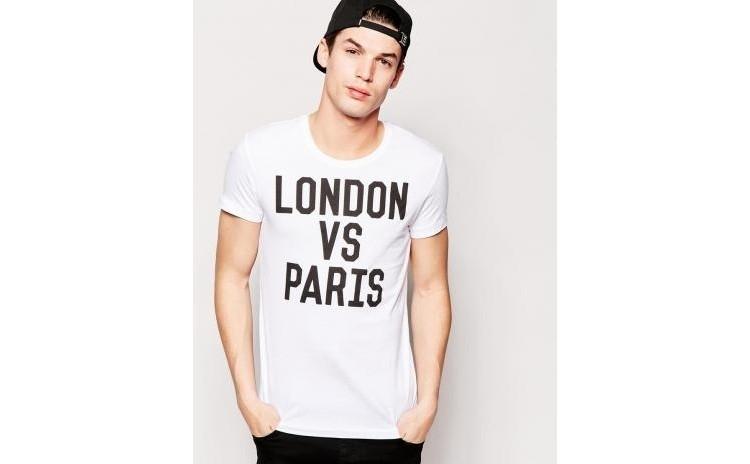Tricou alb barbati - London vs Paris la doar 65 RON in loc de 130 RON