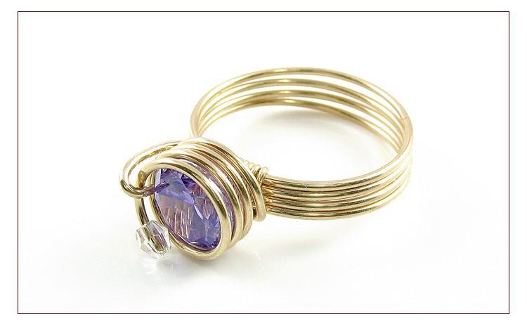 Spiral Purple - Inel Din Sarma De Aur 14k Gf, Diamante Industriale (cubic Zirconia) 8 Mm, Realizat Manual, Produs Romanesc 100%, Serie Mica Sau Unicat La Doar 169 Ron In Loc De 338 Ron