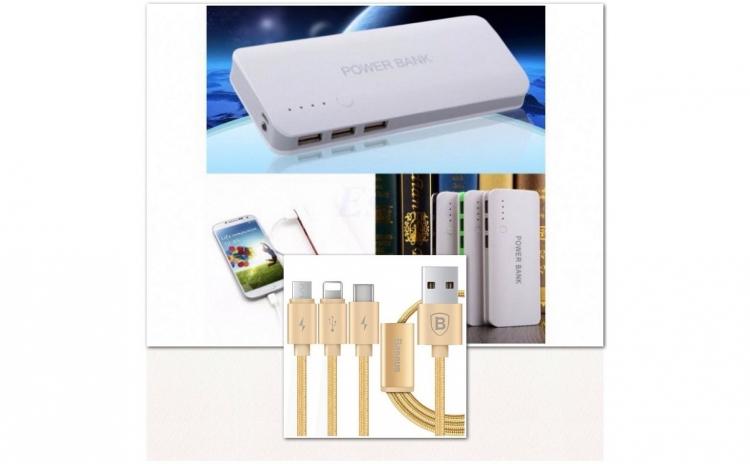 PACHET Baterie Externa Power 20000 mah cu 3 USB + Cablu de incarcare 3 in1, compatibil cu Samsung/Iphone