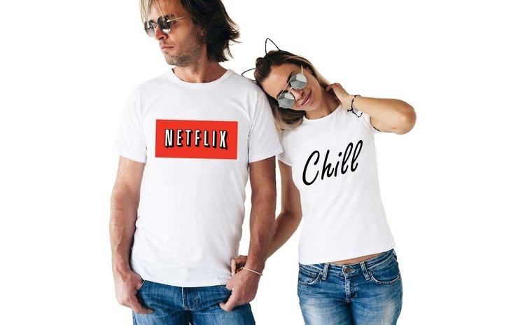 Set doua tricouri albe pentru cupluri