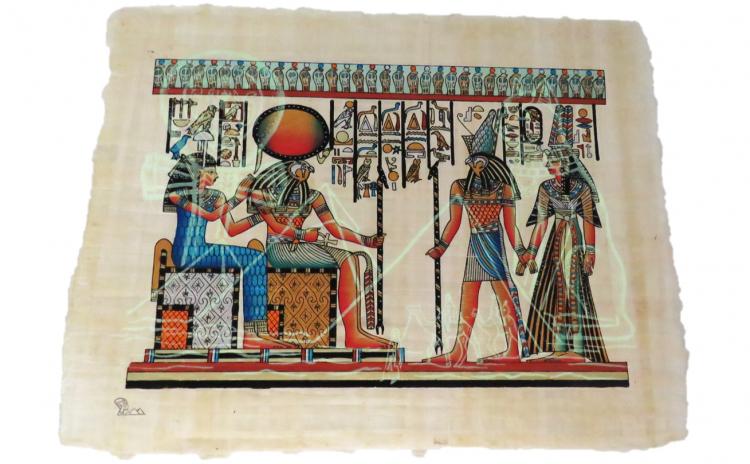 Tablou pictat manual pe papirus