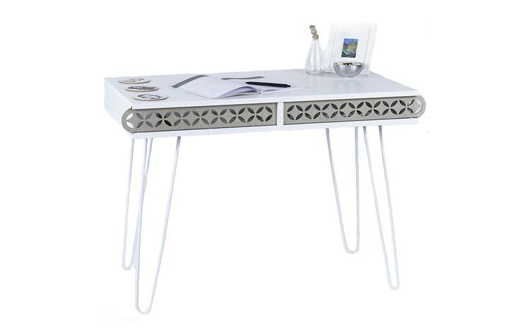 Masa tip birou, 96 x 51 x 75 cm, alb,