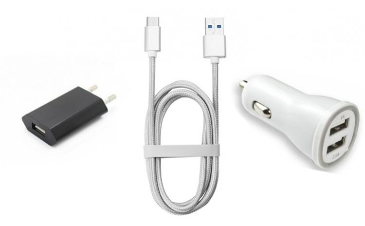 Cablu 2m + Alimentator + USB Auto Dublu