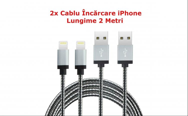 2x Cablu Incarcare iPhone - 2Metri Lung