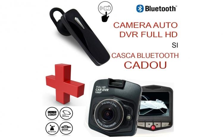 Camera auto DVR Blackbox 900 + Casca moderna cu Bluetooth cadou - Garantie 12 luni