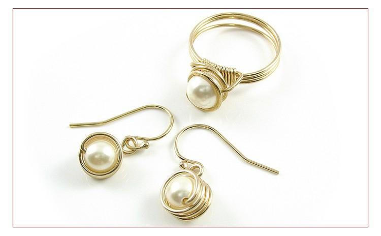 Spiral Set Pearl Creamrose Light - Inel Si Cercei