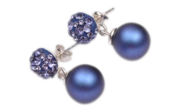 Cercei Ceralun cu Perle Albastre