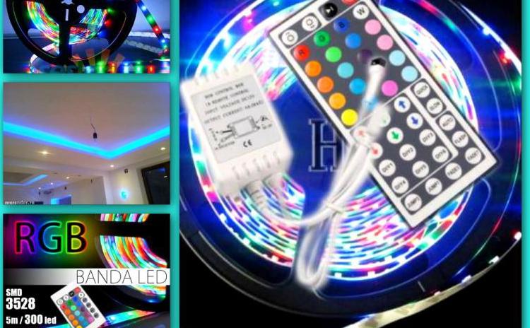 Banda LED de 5 metri, cu telecomanda