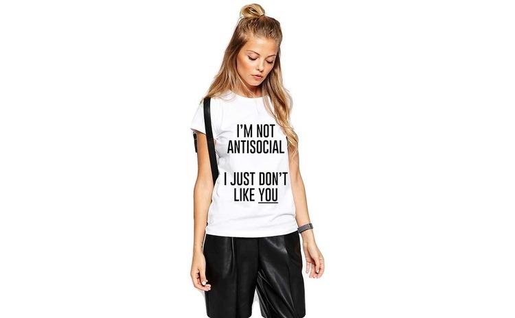Tricou dama alb - I'm not antisocial