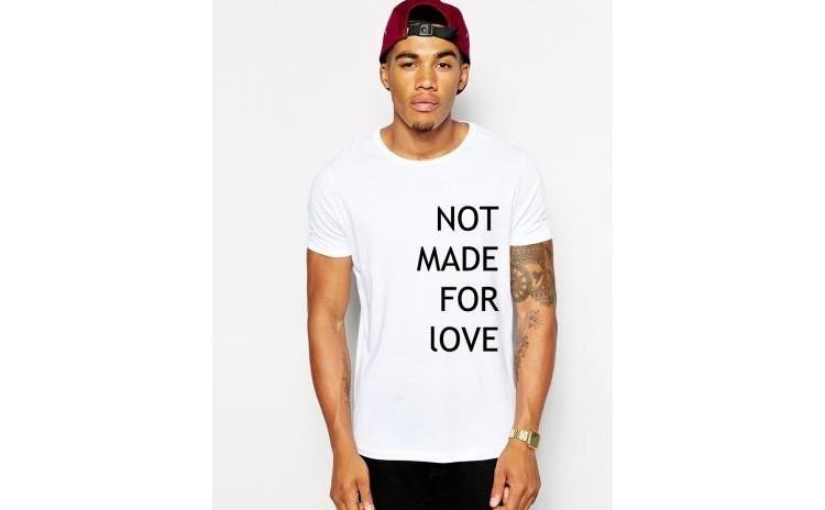 Tricou alb barbati - Not made for love la doar 65 RON in loc de 130 RON