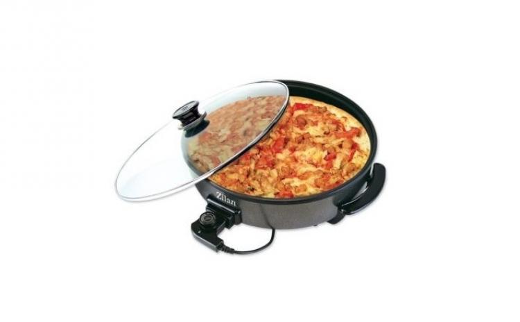 Grill Electric Pentru Pizza Zilan Zln7870  Putere 1500w  Capac Din Sticla Termorezistenta suprafata Interioara Premium Non-stck  Diametru Exterior 38 Cm  La 109 Ron
