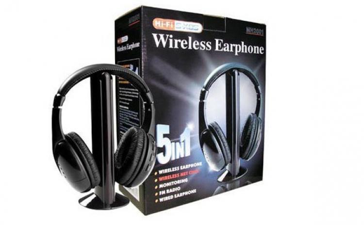 Casti Wireless 5 In 1 Cu Microfon Si Radio Fm Incorporat Pentru Mp3  Dvd  Laptop  Pc  La 48 Lei In Loc De 100 Lei