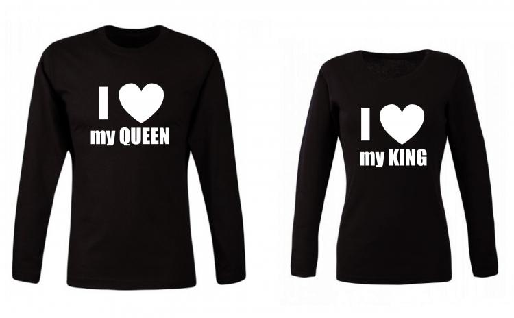 Set de bluze pentru cupluri I Love my King/ Queen