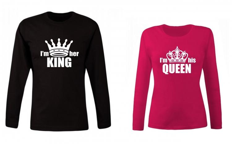 Set de bluze pentru cupluri I'm her King/ his Queen