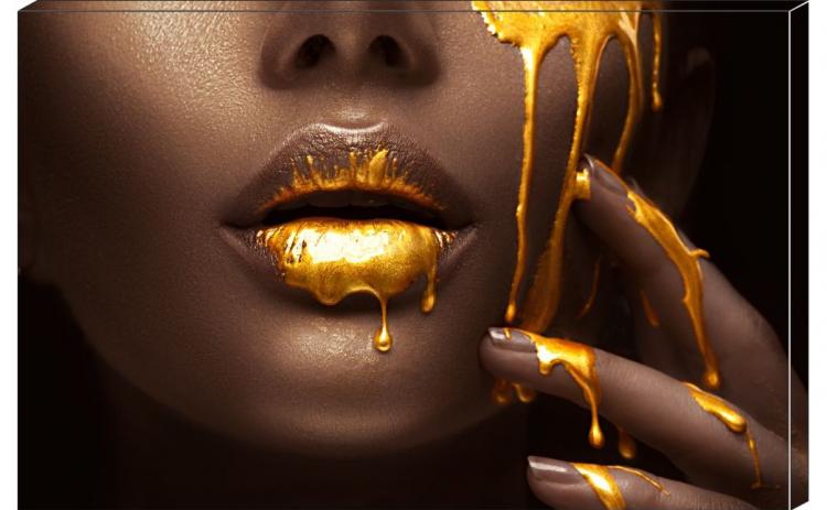 Tablou Canvas Gold Lips 95 x 65 cm