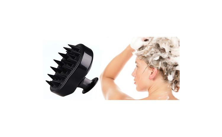 Image of Perie anti-matreata, pentru masaj scalp si stimularea cresterii parului , EGGO Skin, din silicon, pentru toate tipurile de par, pentru copii, femei, barbati, animale, Negru / Onyx Black